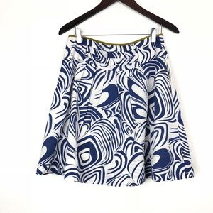 🔸CAbi  Skirt White Lombard Swirl A Line Pleated